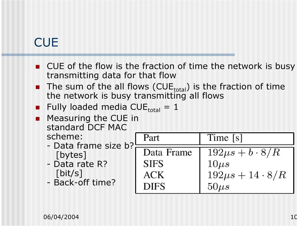 transmitting all flows Fully loaded media CUE total = 1 Measuring the CUE in standard DCF