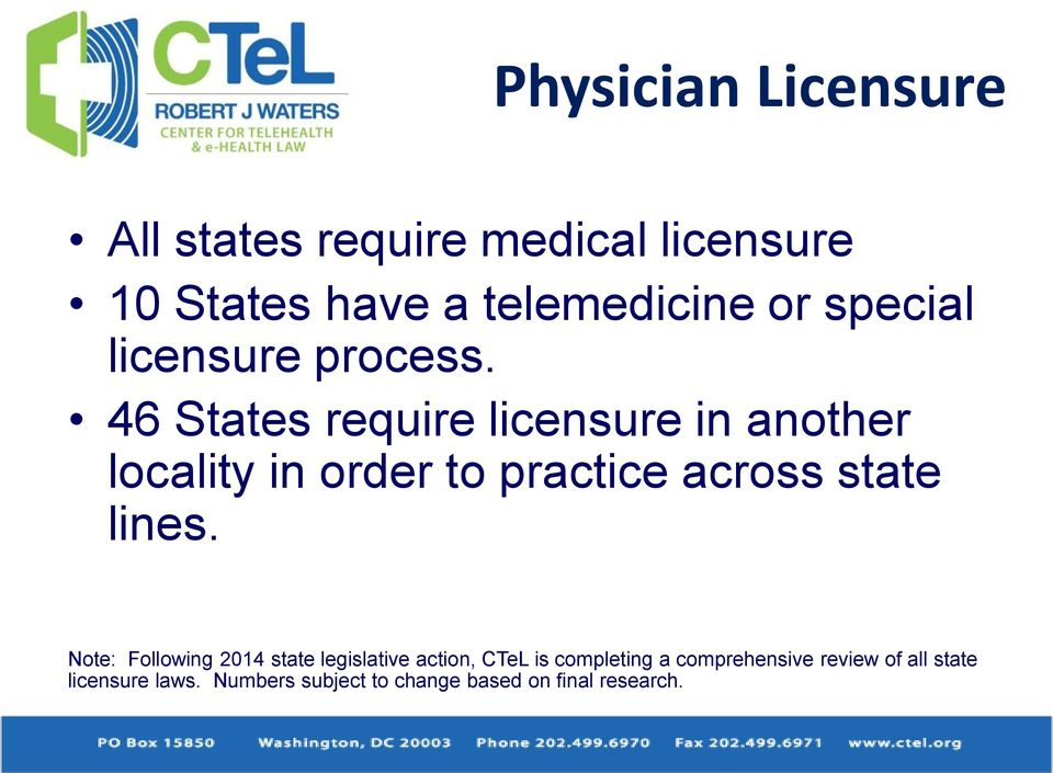 46 States require licensure in another locality in order to practice across state lines.
