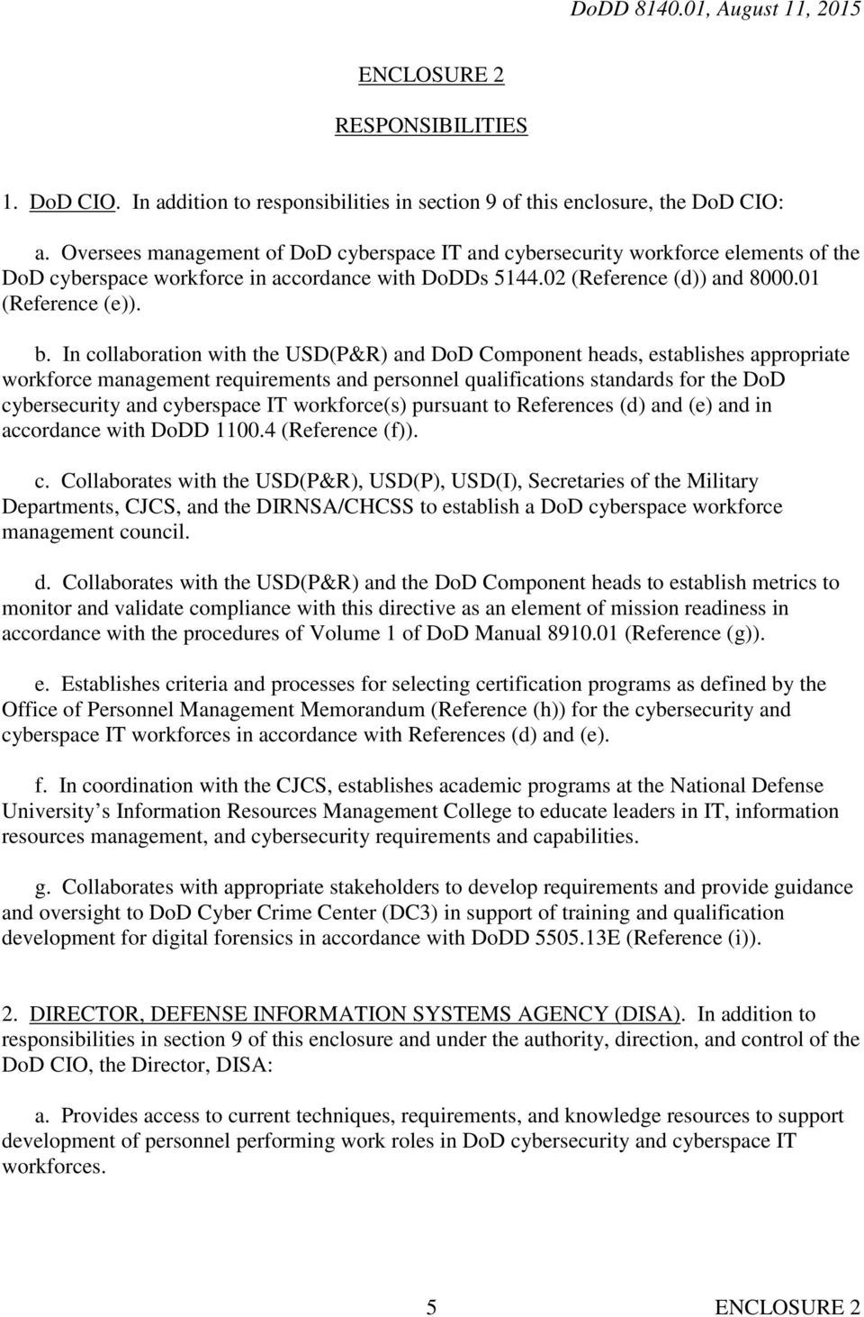 In collaboration with the USD(P&R) and DoD Component heads, establishes appropriate workforce management requirements and personnel qualifications standards for the DoD cybersecurity and cyberspace
