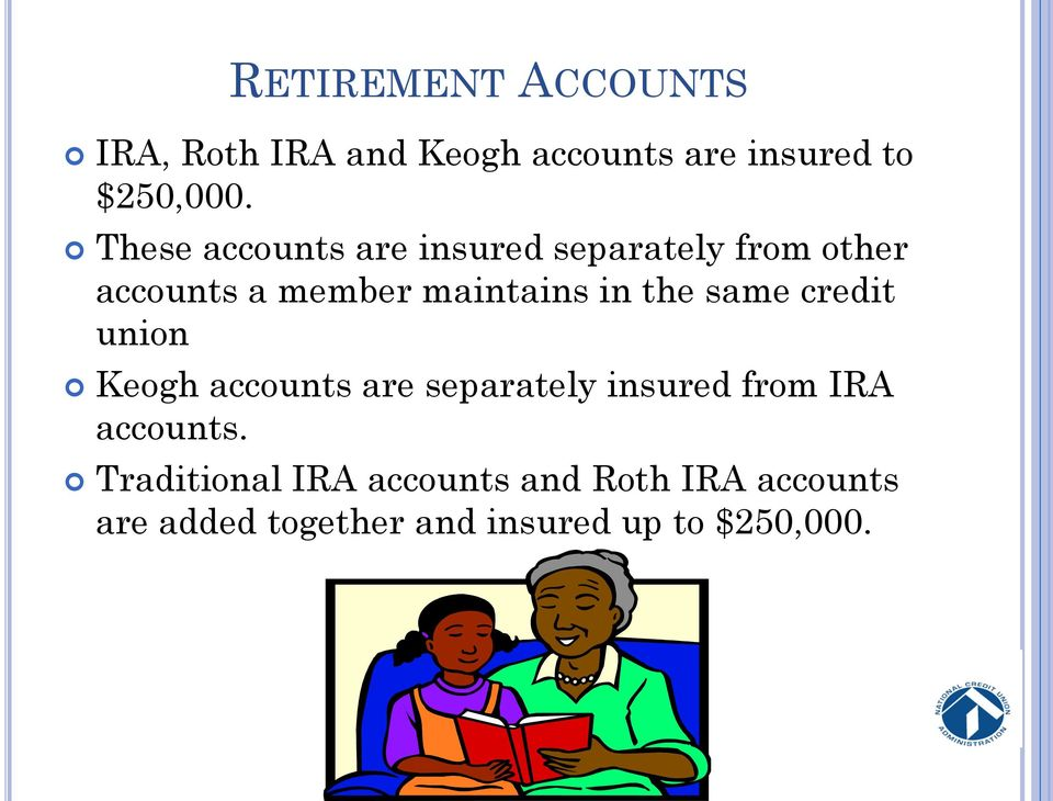 the same credit union Keogh accounts are separately insured from IRA accounts.