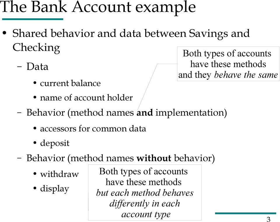 they behave the same accessors for common data deposit Behavior (method names without behavior) withdraw