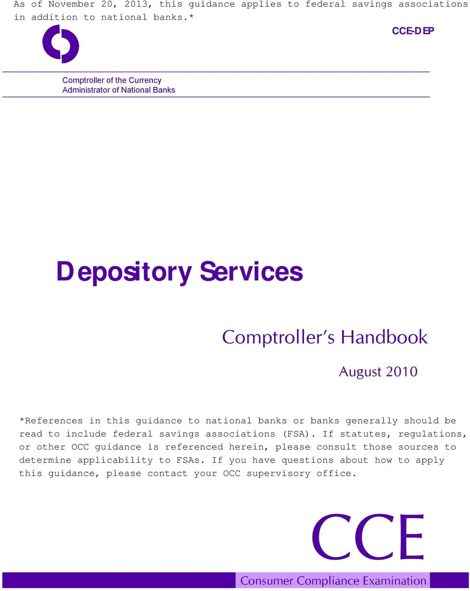 Depository Services Comptroller s