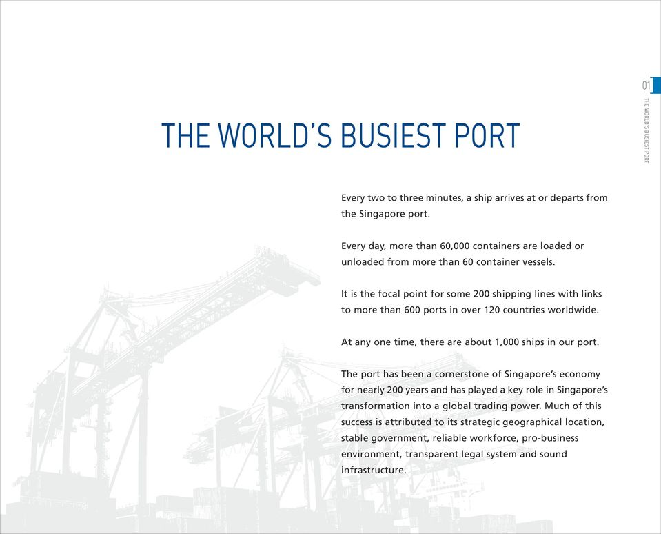 It is the focal point for some 200 shipping lines with links to more than 600 ports in over 120 countries worldwide. At any one time, there are about 1,000 ships in our port.