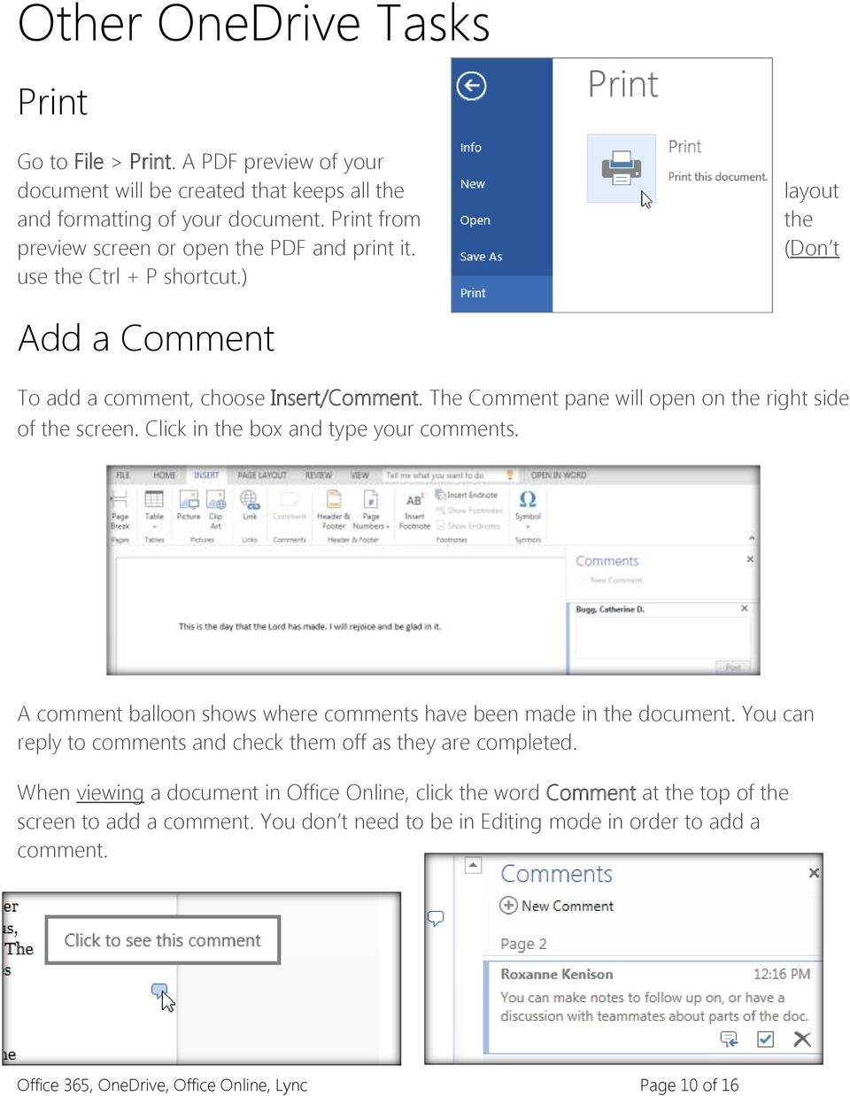 The Comment pane will open on the right side of the screen. Click in the box and type your comments. A comment balloon shows where comments have been made in the document.