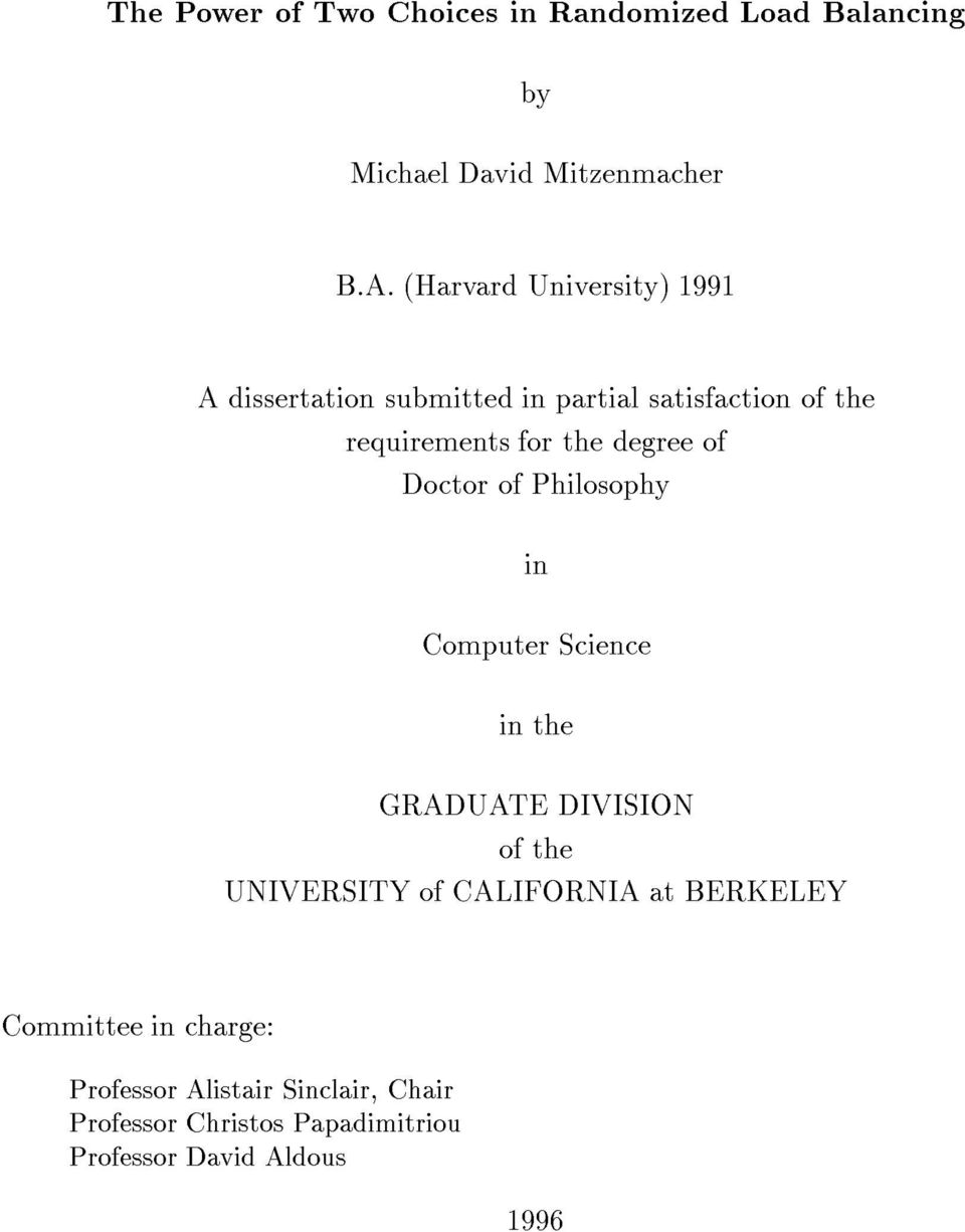 degree of Doctor of Philosophy in Computer Science in the GRADUATE DIVISION of the UNIVERSITY of