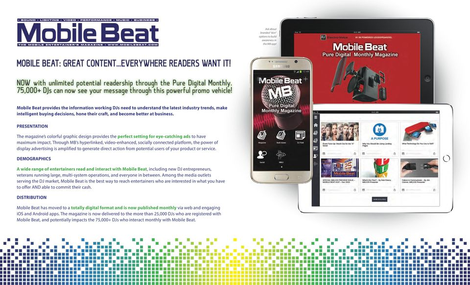 Mobile Beat provides the information working DJs need to understand the latest industry trends, make intelligent buying decisions, hone their craft, and become better at business.