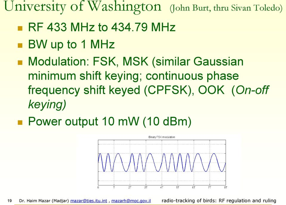 79 MHz BW up to 1 MHz Modulation: FSK, MSK (similar Gaussian