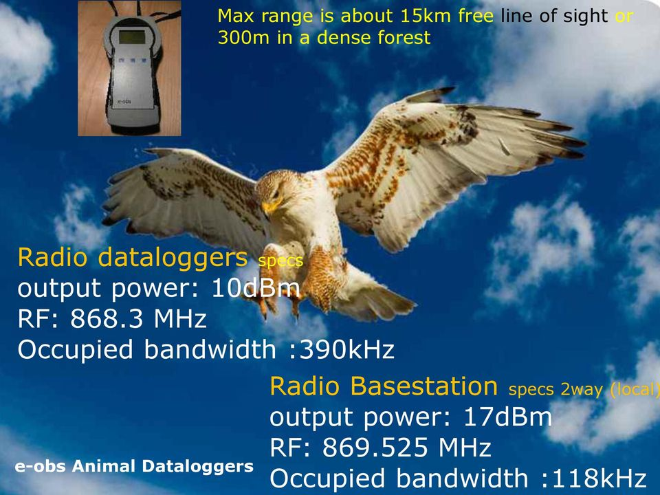 3 MHz Occupied bandwidth :390kHz e-obs Animal Dataloggers 5 Radio Basestation