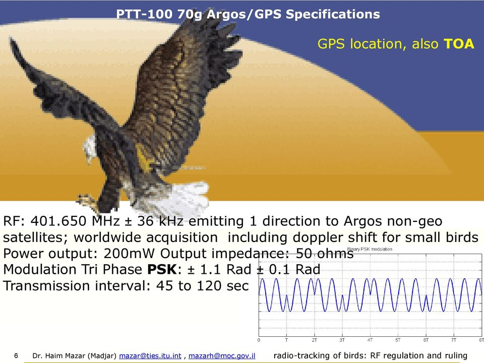 acquisition including doppler shift for small birds ower output: 00mW Output