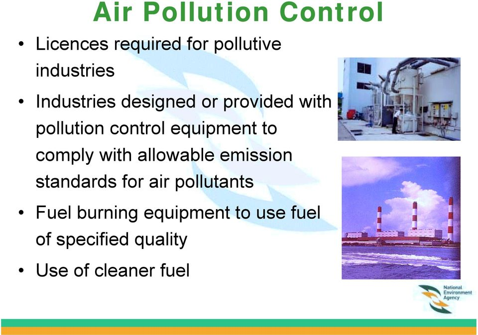 to comply with allowable emission standards for air pollutants