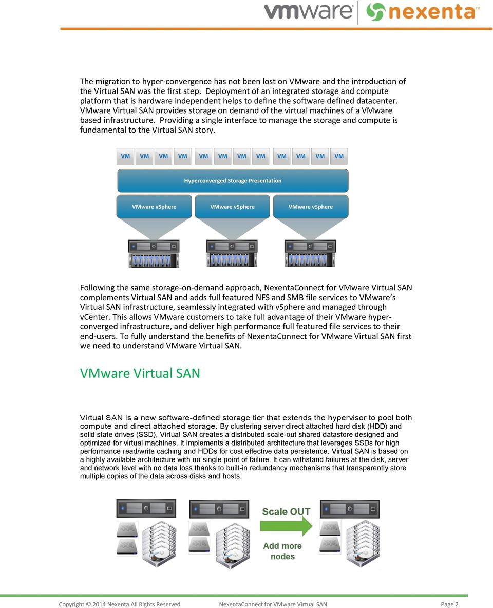 VMware Virtual SAN provides storage on demand of the virtual machines of a VMware based infrastructure.