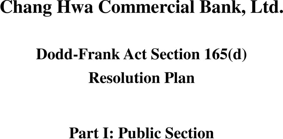 Dodd-Frank Act Section