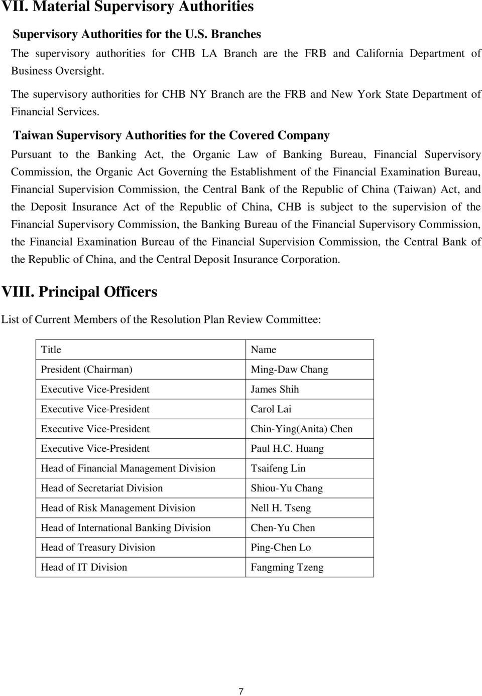 Taiwan Supervisory Authorities for the Covered Company Pursuant to the Banking Act, the Organic Law of Banking Bureau, Financial Supervisory Commission, the Organic Act Governing the Establishment of