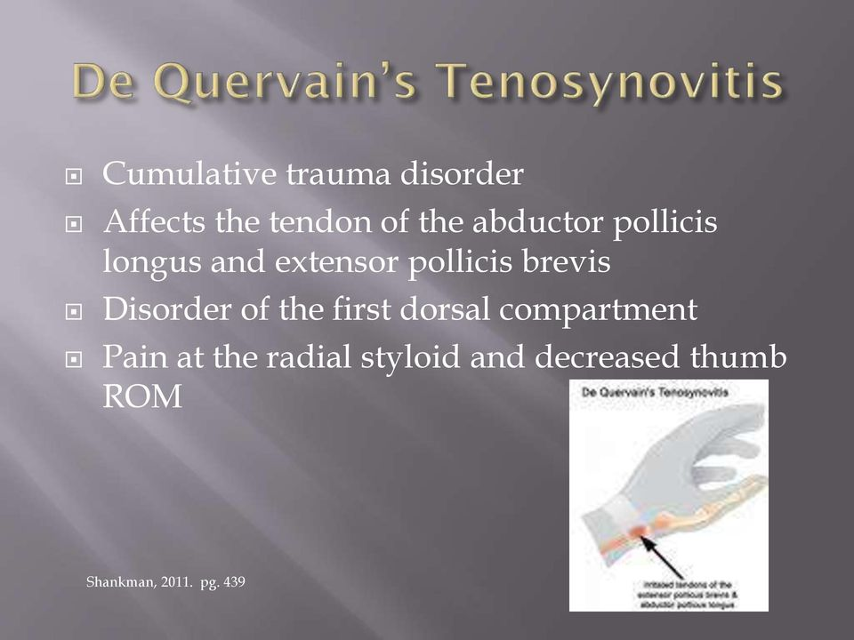 Disorder of the first dorsal compartment Pain at the