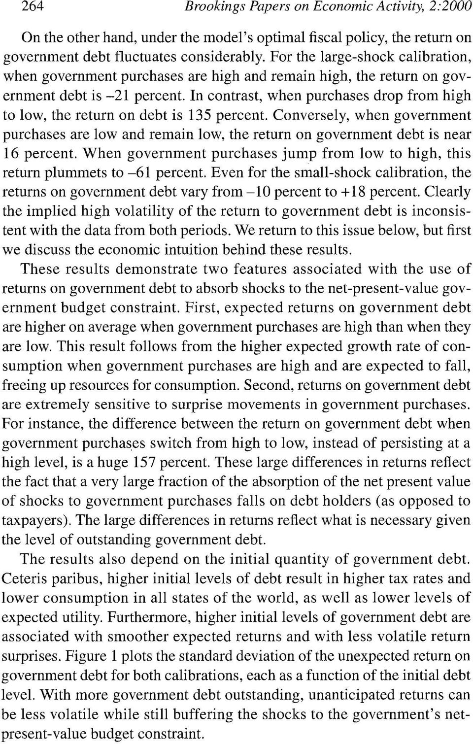 In contrast, when purchases drop from high to low, the return on debt is 135 percent. Conversely, when government purchases are low and remain low, the return on government debt is near 16 percent.