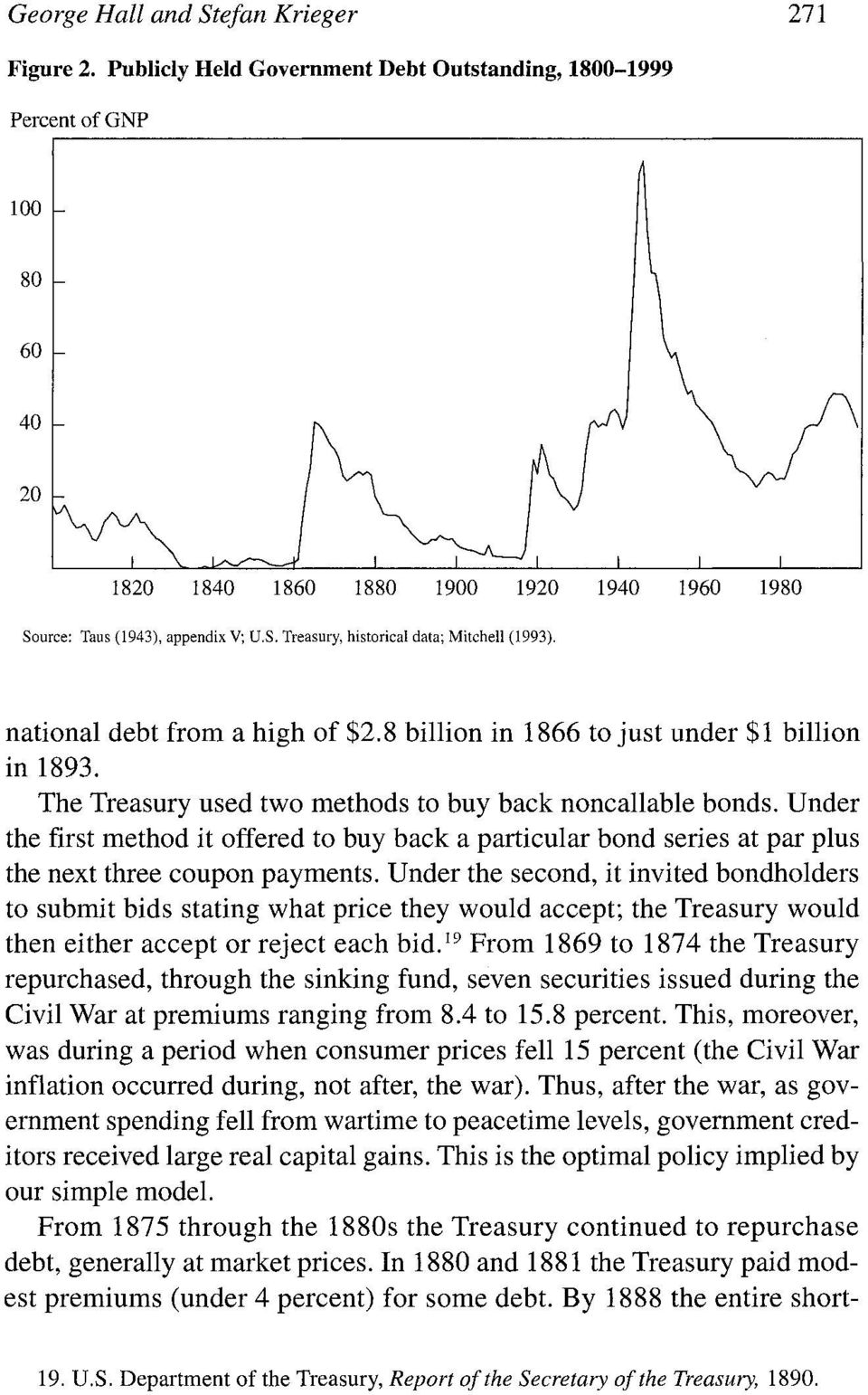 national debt from a high of $2.8 billion in 1866 to just under $1 billion in 1893. The Treasury used two methods to buy back noncallable bonds.