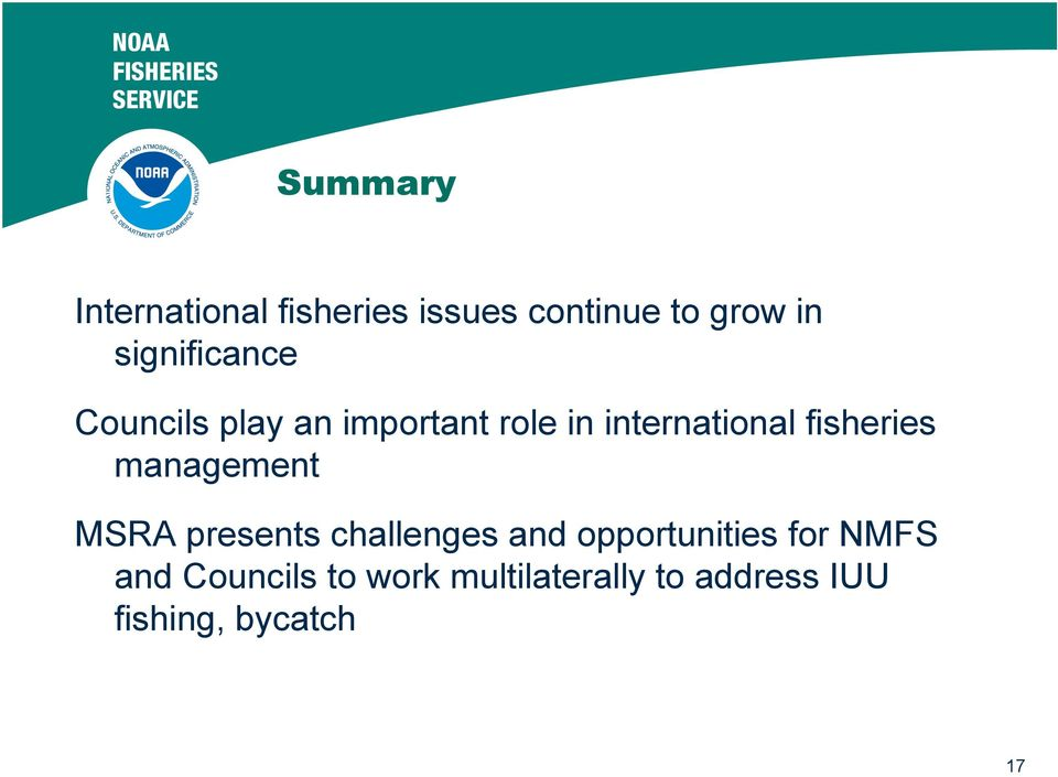 fisheries management MSRA presents challenges and opportunities