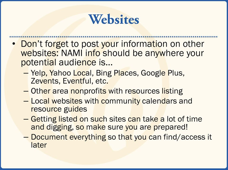 Other area nonprofits with resources listing Local websites with community calendars and resource guides