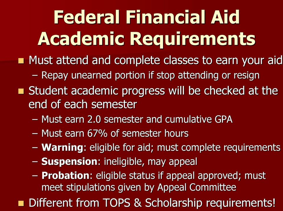0 semester and cumulative GPA Must earn 67% of semester hours Warning: eligible for aid; must complete requirements Suspension: