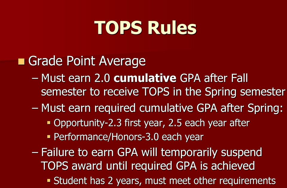 cumulative GPA after Spring: Opportunity-2.3 first year, 2.