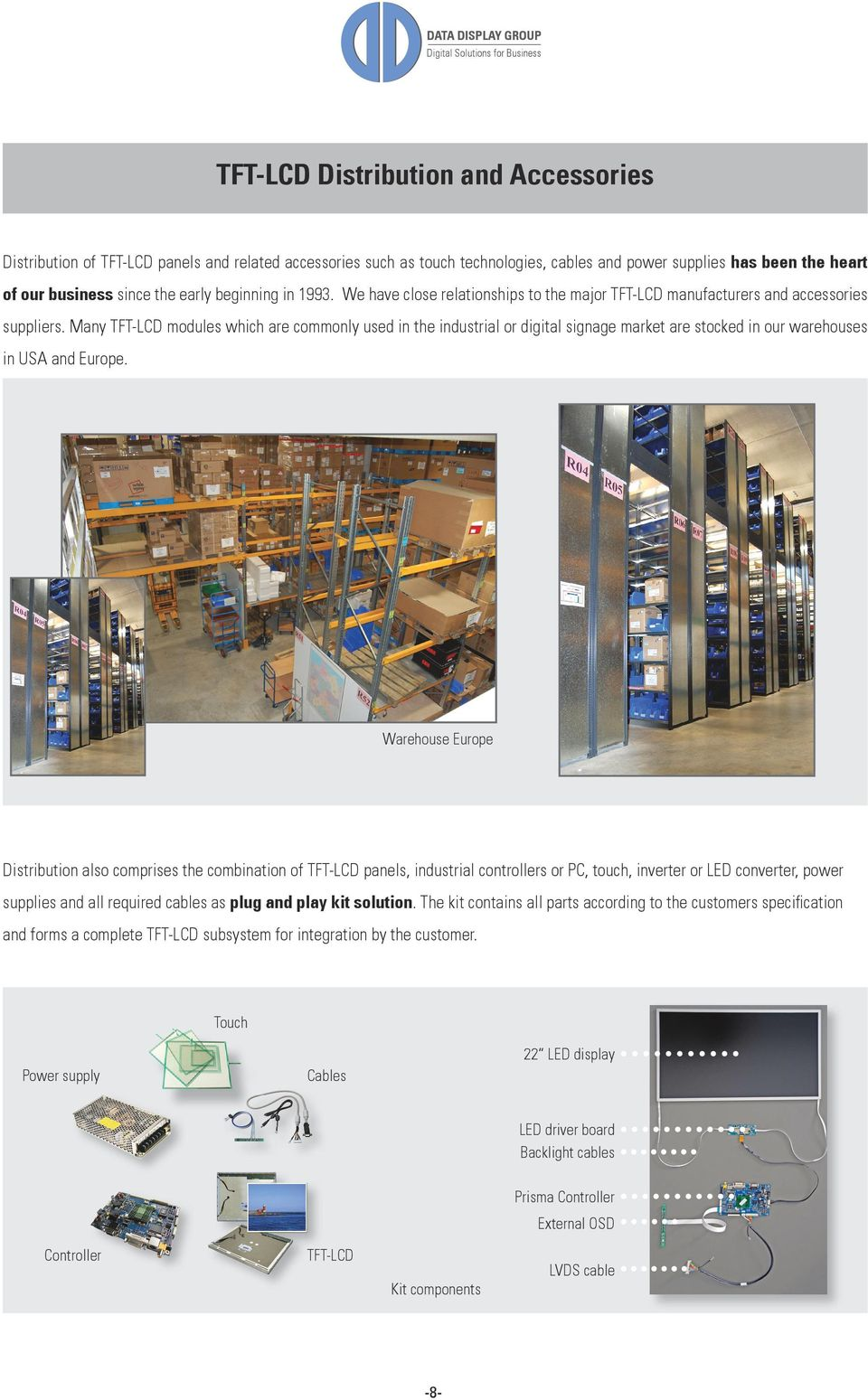 Many TFT-LCD modules which are commonly used in the industrial or digital signage market are stocked in our warehouses in USA and Europe.