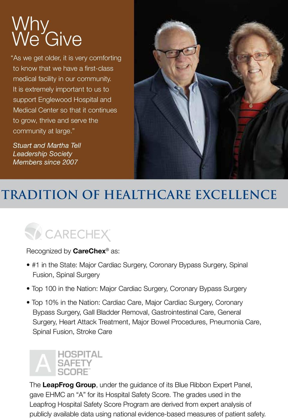 Stuart and Martha Tell Leadership Society Members since 2007 Tradition of Healthcare Excellence Recognized by CareChex as: #1 in the State: Major Cardiac Surgery, Coronary Bypass Surgery, Spinal