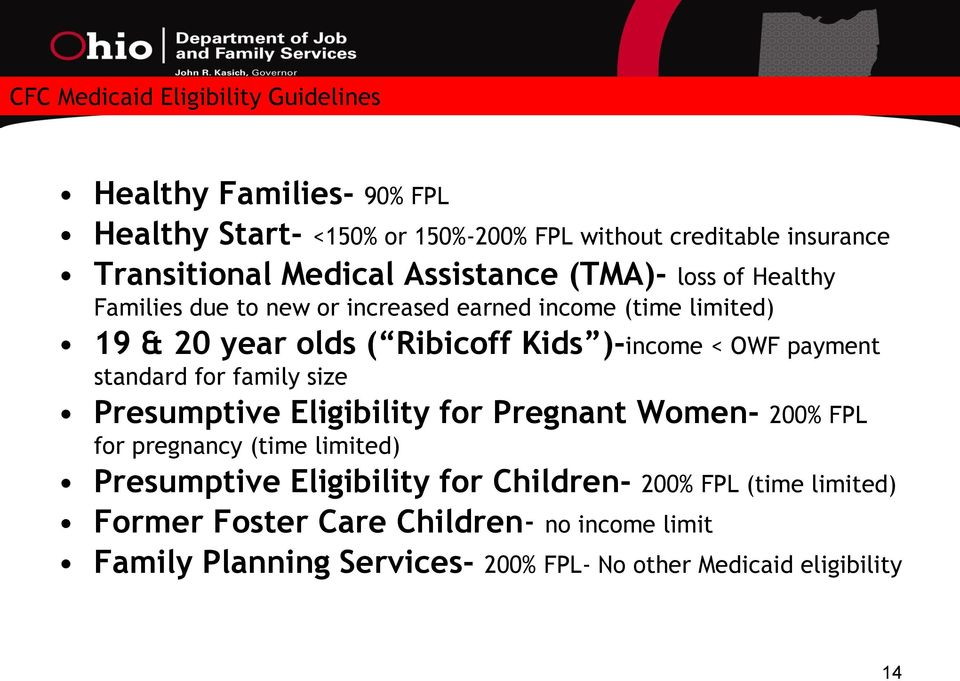 < OWF payment standard for family size Presumptive Eligibility for Pregnant Women- 200% FPL for pregnancy (time limited) Presumptive Eligibility