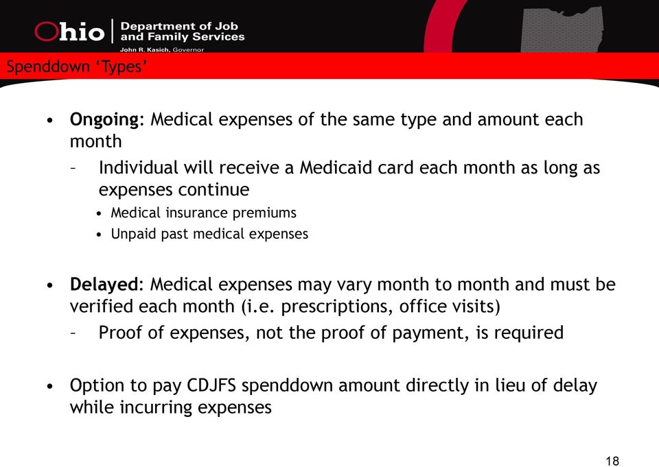expenses may vary month to month and must be verified each month (i.e. prescriptions, office visits) Proof of expenses,