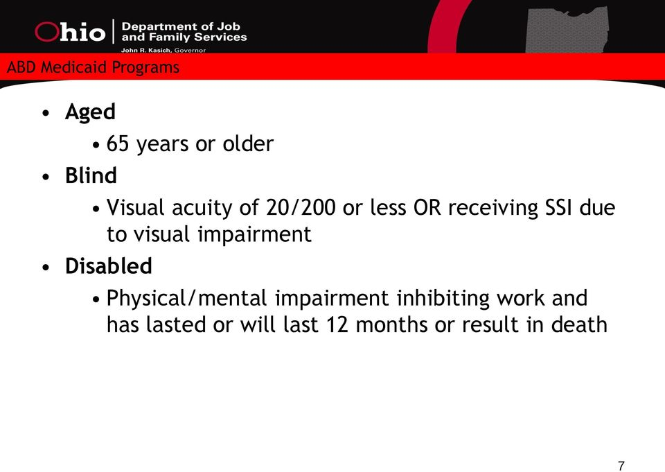 impairment Disabled Physical/mental impairment inhibiting