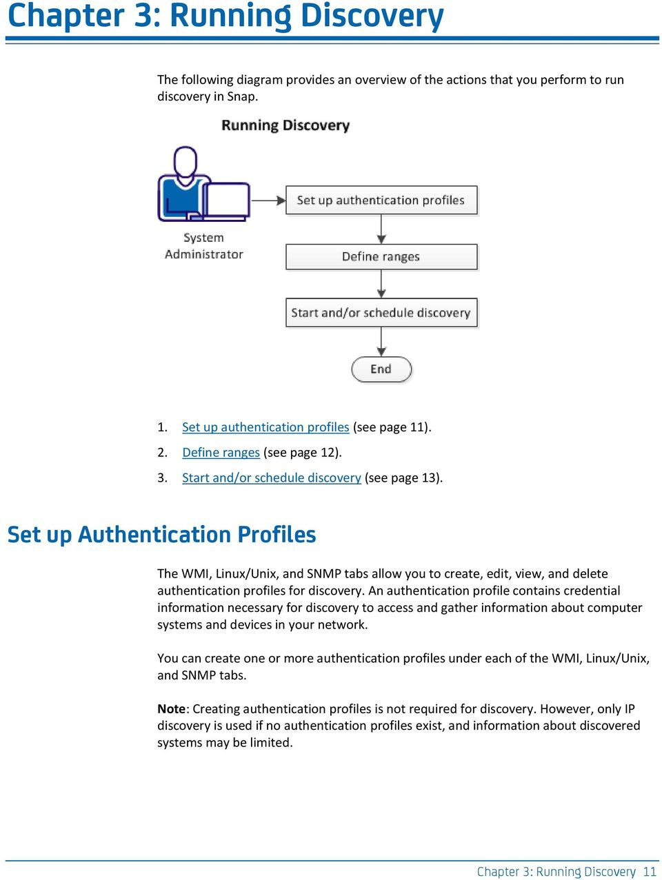 Set up Authentication Profiles The WMI, Linux/Unix, and SNMP tabs allow you to create, edit, view, and delete authentication profiles for discovery.