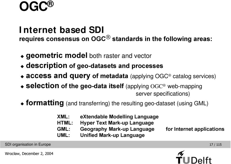 OGC web-mapping server specifications) formatting (and transferring) the resulting geo-dataset (using GML) XML: HTML: GML: UML: