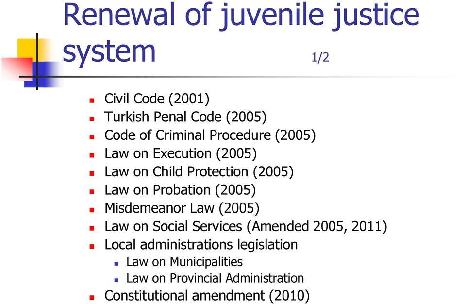 Probation (2005) Misdemeanor Law (2005) Law on Social Services (Amended 2005, 2011) Local