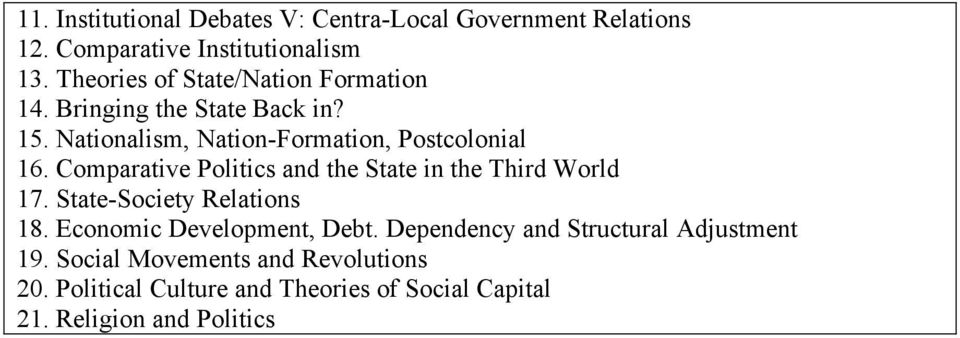 Comparative Politics and the State in the Third World 17. State-Society Relations 18. Economic Development, Debt.