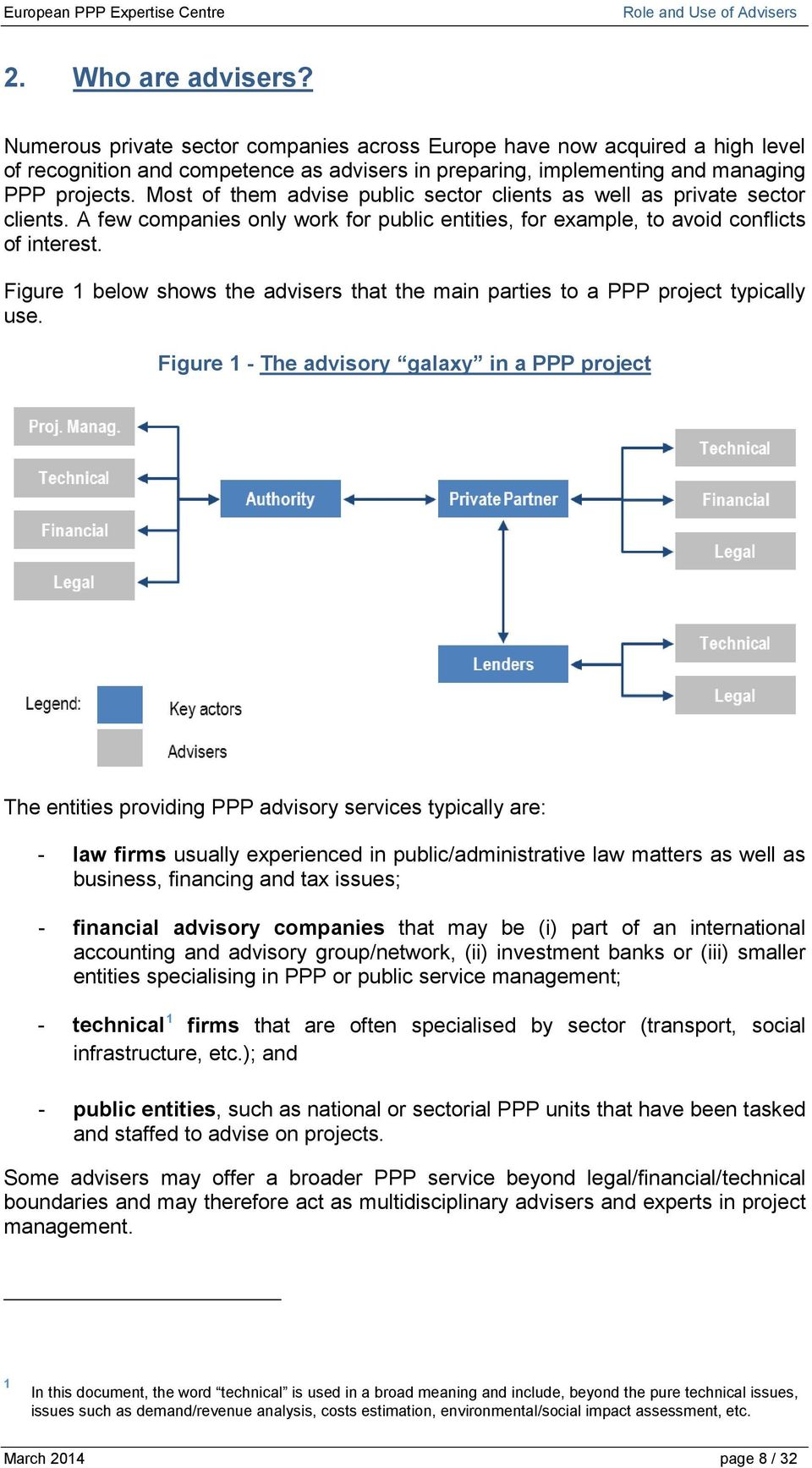 Figure 1 below shows the advisers that the main parties to a PPP project typically use.