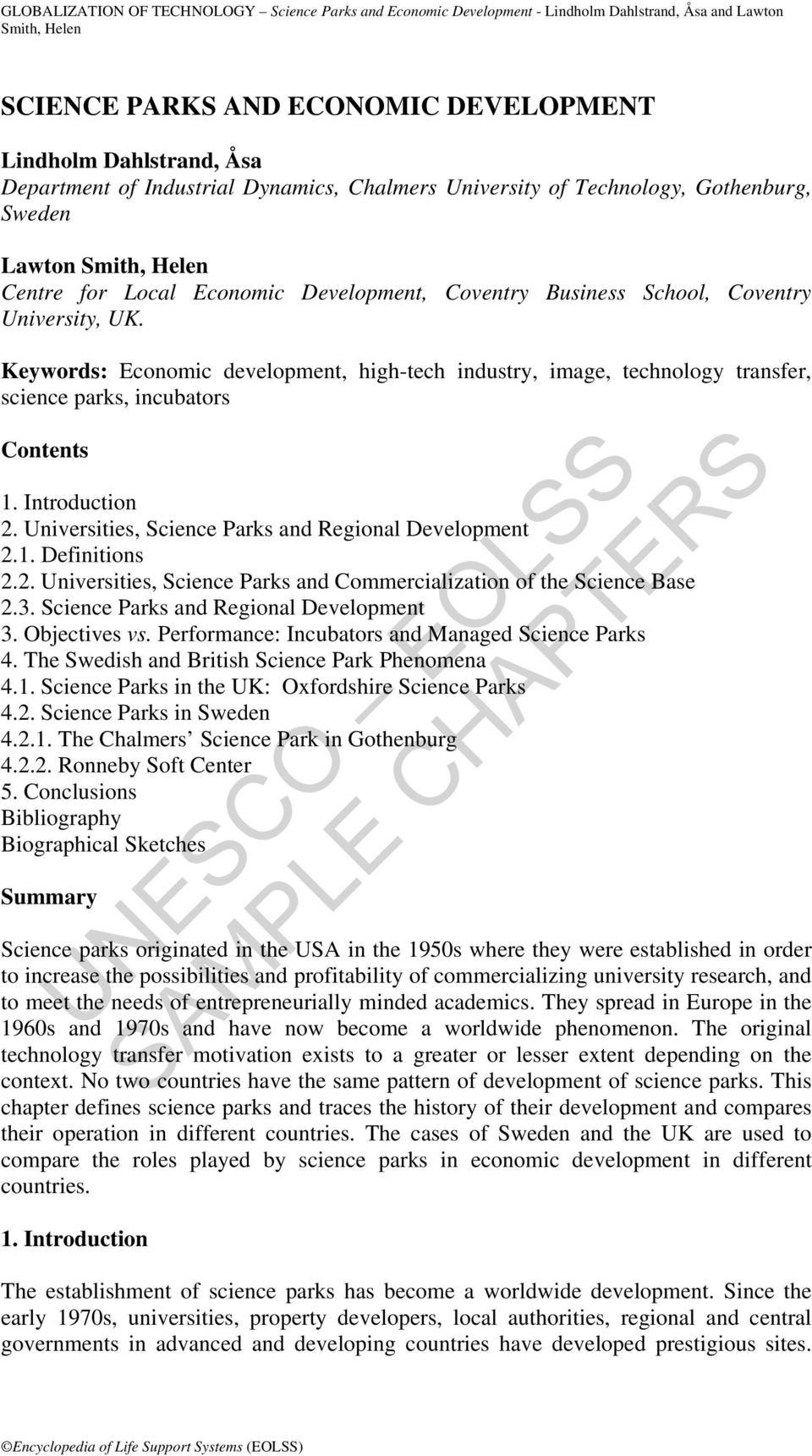 Universities, Science Parks and Regional Development 2.1. Definitions 2.2. Universities, Science Parks and Commercialization of the Science Base 2.3. Science Parks and Regional Development 3.