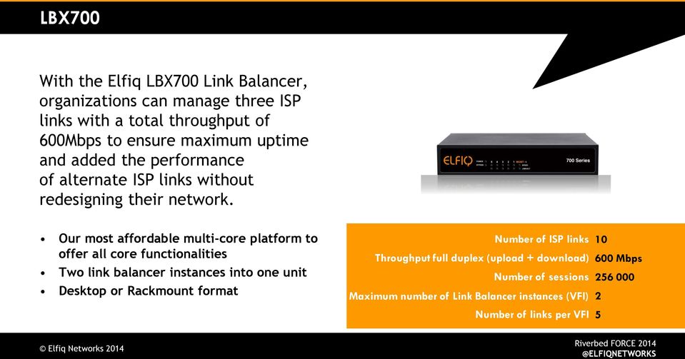 Our most affordable multi-core platform to offer all core functionalities Two link balancer instances into one unit Desktop or Rackmount