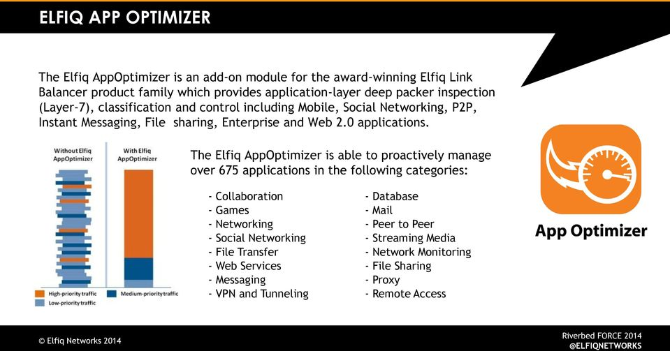 The Elfiq AppOptimizer is able to proactively manage over 675 applications in the following categories: - Collaboration - Database - Games - Mail - Networking -