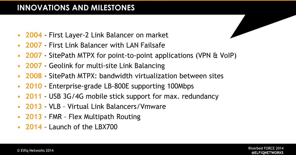 MTPX: bandwidth virtualization between sites 2010 - Enterprise-grade LB-800E supporting 100Mbps 2011 - USB 3G/4G mobile