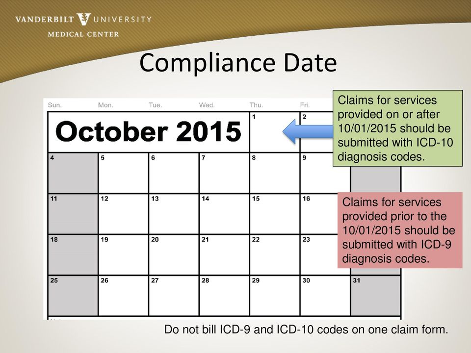 Claims for services provided prior to the 10/01/2015 should be