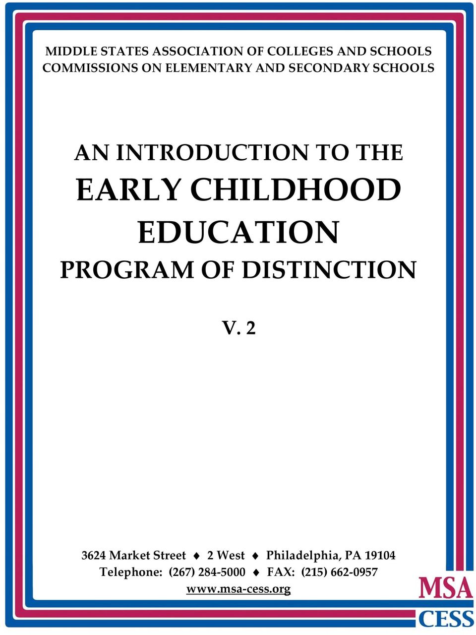 EDUCATION PROGRAM OF DISTINCTION V.