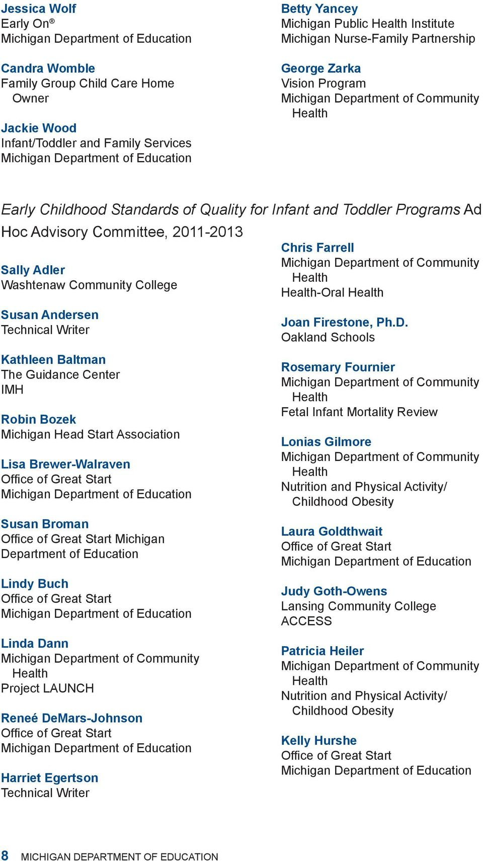 Programs Ad Hoc Advisory Committee, 2011-2013 Chris Farrell Michigan Department of Community Sally Adler Health Washtenaw Community College Health-Oral Health Susan Andersen Technical Writer Kathleen