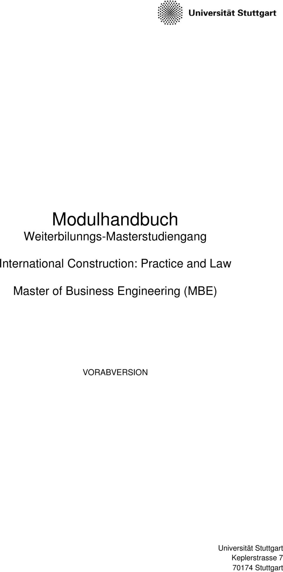 Master of Business Engineering (MBE)