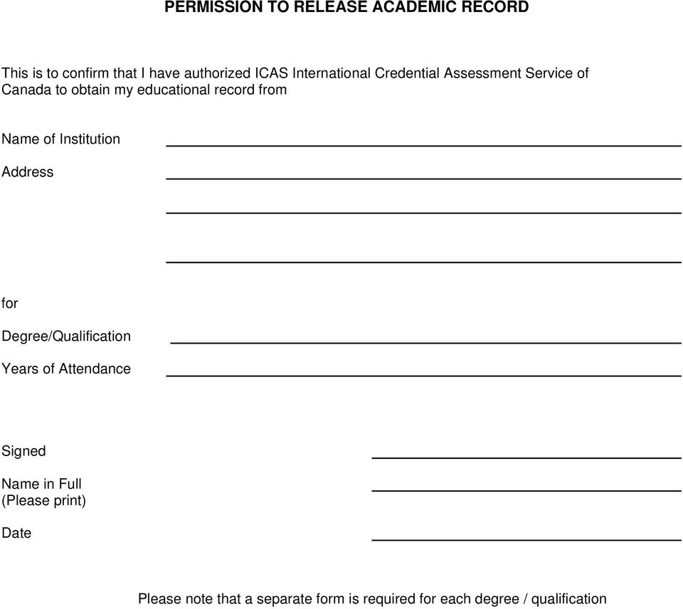 Name of Institution Address for Degree/Qualification Years of Attendance Signed Name in