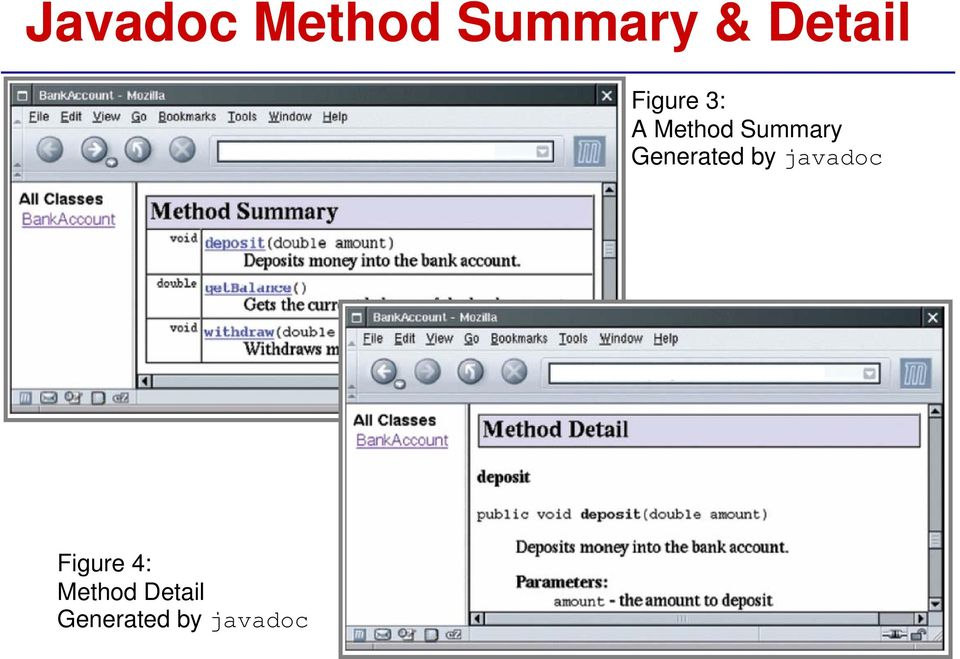Summary Generated by javadoc
