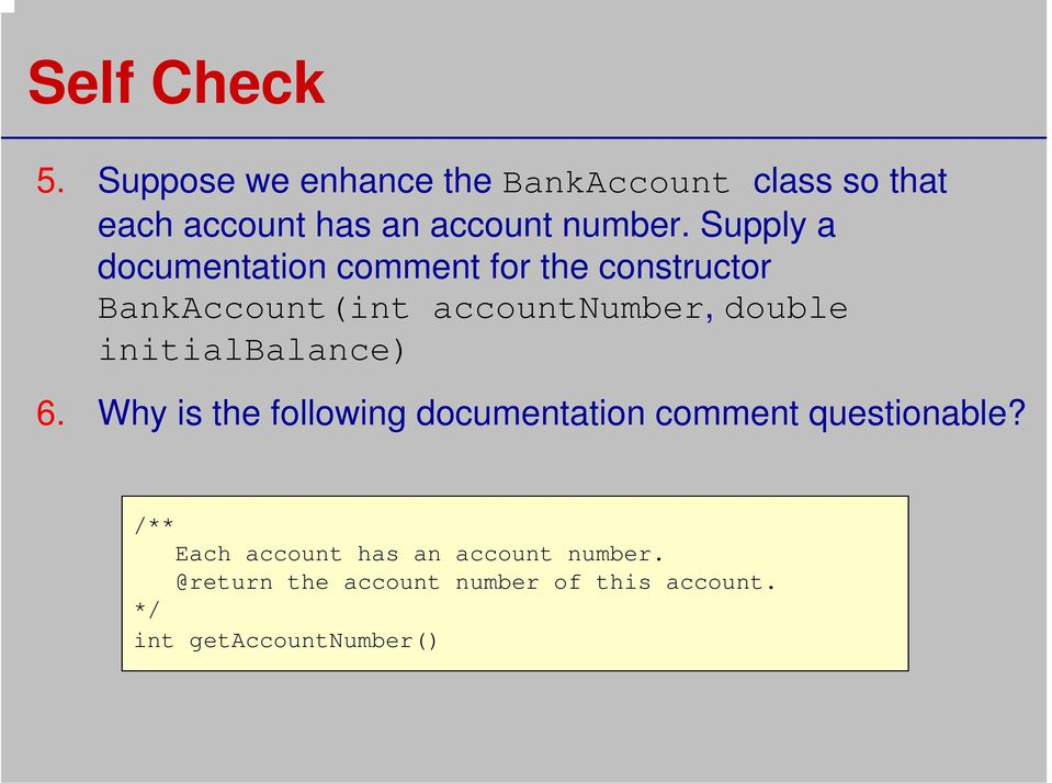 Supply a documentation comment for the constructor BankAccount(int accountnumber, double