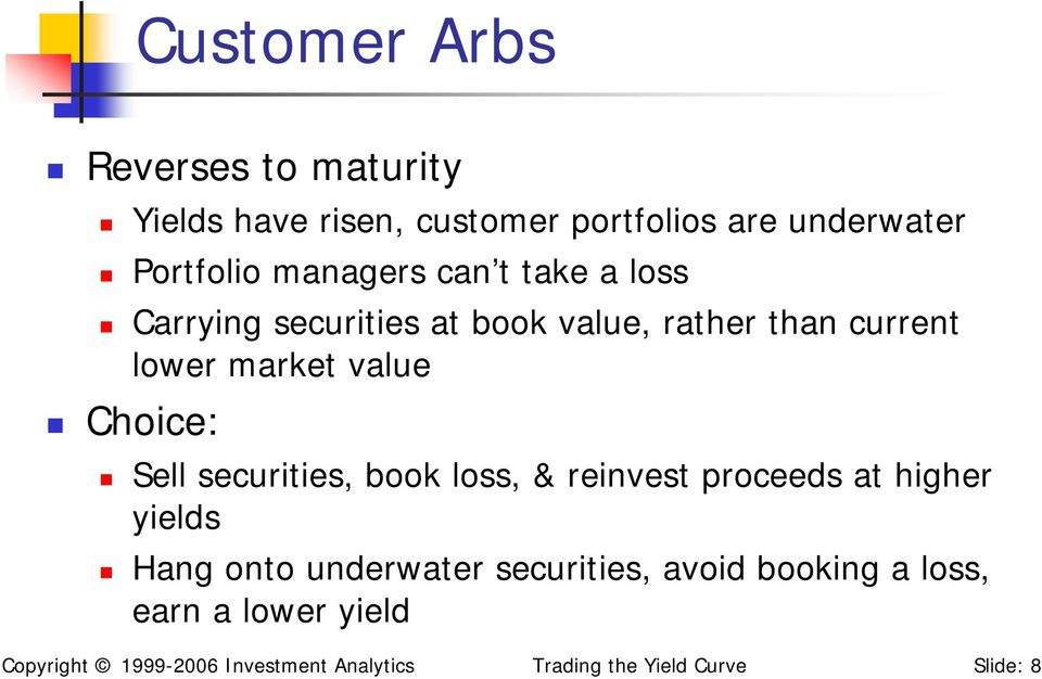 Choice: Sell securities, book loss, & reinvest proceeds at higher yields Hang onto underwater