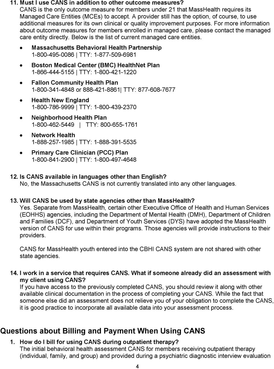 Frequently Asked Questions About The Cans Requirements And Billing Pdf