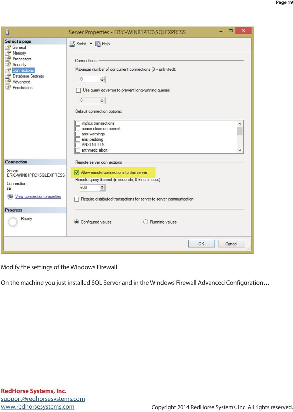 SQL Server and in the Windows Firewall