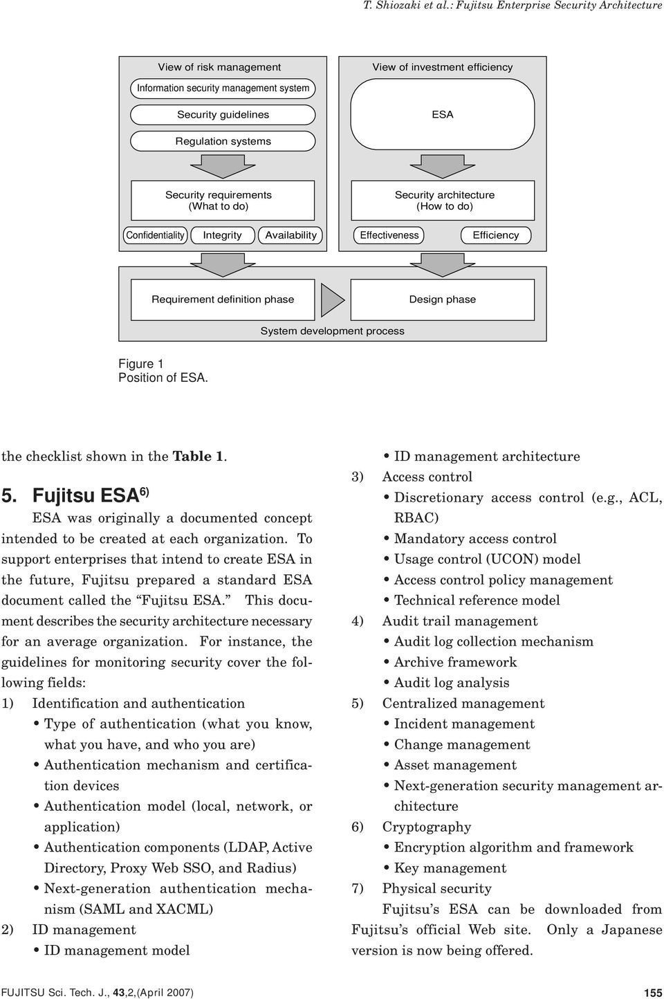 the checklist shown in the Table 1. 5. Fujitsu ESA 6) ESA was originally a documented concept intended to be created at each organization.