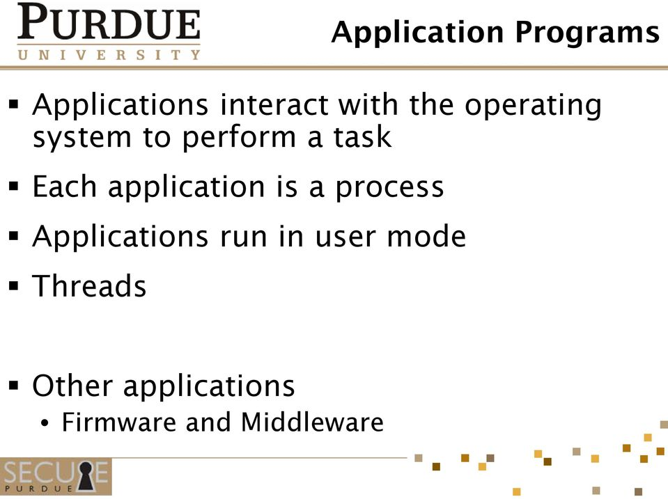 application is a process Applications run in user